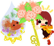 Girls and goldfish bowls. A cute little girl and a goldfish bowl and a flower key Stock Images