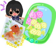 Girls and goldfish bowls. A cute little girl and a goldfish bowl and a smart phone Stock Photos