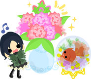Girls and goldfish bowls. A cute little girl and a goldfish bowl and a vase Royalty Free Stock Image