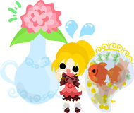 Girls and goldfish bowls. A cute little girl and a goldfish bowl and a vase Stock Images