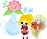 Girls and goldfish bowls Stock Images