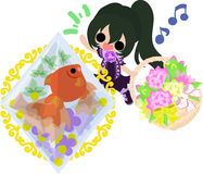 Girls and goldfish bowls. A cute little girl with a flower basket and a goldfish bowl Stock Images