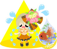 Girls and goldfish bowls. A cute little girl in sad and a goldfish bowl Royalty Free Stock Images