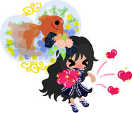 Girls and goldfish bowls. A cute little girl who gives up hearts and a goldfish bowl Stock Photos