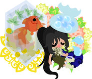 Girls and goldfish bowls. A cute little girl who is ill and a goldfish bowl Royalty Free Stock Images