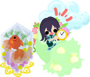Girls and goldfish bowls. A cute little girl who overslept and a goldfish bowl Stock Photo