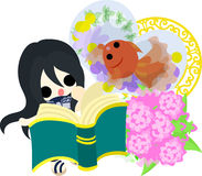 Girls and goldfish bowls. A cute little girl who is reading a book and a goldfish bowl Royalty Free Stock Photo