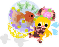 Girls and goldfish bowls. A cute little girl who runs hastily and a goldfish bowl Royalty Free Stock Photography