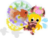 Girls and goldfish bowls Royalty Free Stock Photography