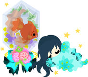 Girls and goldfish bowls. A cute little girl who is sleeping and a goldfish bowl Stock Photos