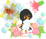 Girls and goldfish bowls. A cute little girl who takes a shower and a goldfish bowl Royalty Free Stock Photos