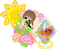 Girls and goldfish bowls. A cute little girl who wake up and a goldfish bowl Stock Photo