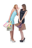 Girls after good shopping Royalty Free Stock Photography