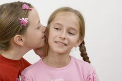 Girls / gossip. Focus on the face Royalty Free Stock Images