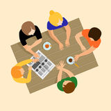 Girls gossiping. Girls communicate. Girls talk. Breakfast, lunch Royalty Free Stock Photo