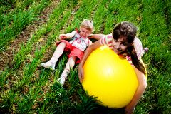 Girls on grass Royalty Free Stock Images