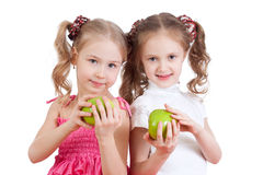 Girls with green apples healthy food Stock Photography