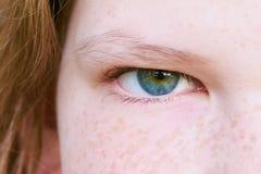 Girls green blue eye, close up stock photos