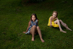 Girls on the ground Royalty Free Stock Image