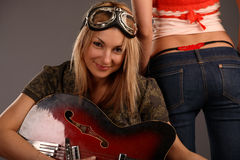 Girls with guitars Stock Photo