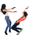 Girls with guns. Cool girls playing with toy guns Stock Image