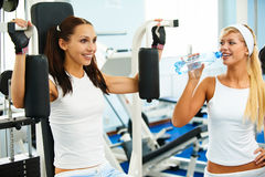 Girls in gym Stock Photo