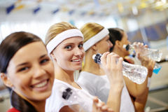 Girls in gym Royalty Free Stock Photo
