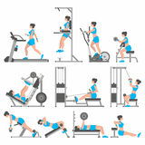 Girls in the gym. Gym Exercises and Fitness Infographic Element Vector Design vector illustration