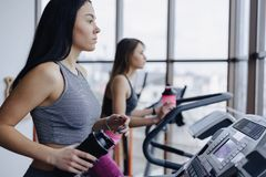 Girls in the gym are trained on treadmills and drink water, smiling royalty free stock image