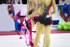 Girls gymnasts with ribbons Royalty Free Stock Image