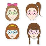 Girls Hair Sticker Set. Stock Image