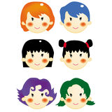 Girls hair style 2. A series of girls hair style, vector, illustration Stock Images