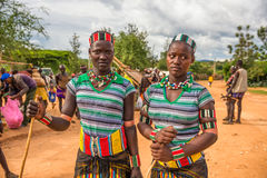 Girls from the Hamar tribe  at a popular market in Turmi, Ethiop Royalty Free Stock Photo