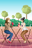Girls hanging out together. A vector illustration of beautiful girl hanging out and have a coffee together Stock Photos