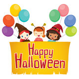 Girls with Happy Halloween Banner. Mystery Holiday Culture October Decoration Fantasy Night Party Royalty Free Stock Photos