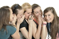 Girls are happy in the school Royalty Free Stock Photos