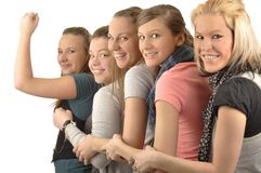 Girls are happy in the school Royalty Free Stock Image