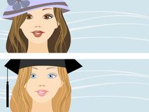 Girls in hats Royalty Free Stock Image