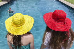 Girls Hats Boy Pool Summer Royalty Free Stock Photo