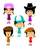 Girls with hats Stock Photos
