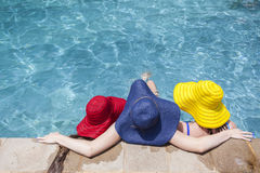 Girls Hats Pool Summer Royalty Free Stock Photos