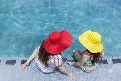 Girls Hats Swim Pool Stock Photos