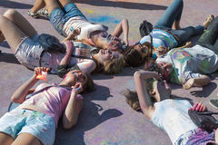 Girls  have fun during the festival of color Stock Photos