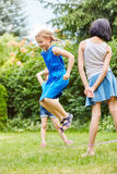 Girls have fun jumping and playing Royalty Free Stock Photos