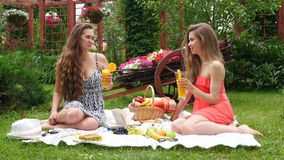 Girls Have a Picnic and Drink Juice. 2 Girls Have A Picnic In A Garden, On A Beautiful Spring Day stock video