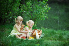 Girls have picnic Stock Photo