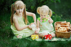 Girls have picnic Stock Images