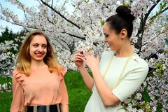 Girls have a spring celebration in Vilnius city Royalty Free Stock Photography