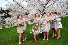 Girls have a spring celebration in Vilnius city Stock Photo