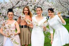Girls have a spring celebration in Vilnius city Royalty Free Stock Photo
